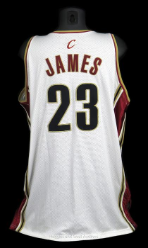 04846492274 PriceRealized - 2003-04 LeBron James Rookie Year Game-Worn Cleveland  Cavaliers Home Jersey - Mears A5