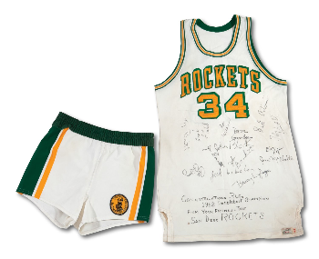 92ef9cc4d020 PriceRealized - RARE 1967-68 JOHN BLOCK SAN DIEGO ROCKETS (INAUGURAL  SEASON) GAME WORN   TEAM SIGNED JERSEY (PHOTO-MATCHED) WITH 1969 GAME WORN  SHORTS ...