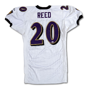 PriceRealized - 2002 ED REED SIGNED   INSCRIBED BALTIMORE RAVENS GAME WORN  JERSEY FROM HIS ROOKIE SEASON 138007798