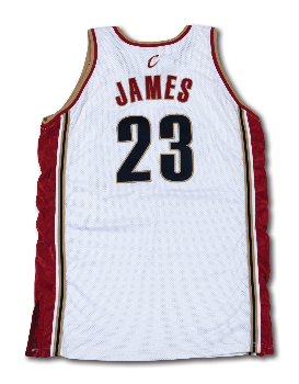 4a7db1930da PriceRealized - 2003-04 LEBRON JAMES CLEVELAND CAVALIERS GAME WORN HOME ROOKIE  JERSEY (MEARS)